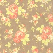 Moda Avalon by Fig Tree - 2430 - Peach Floral on Taupe Background - 100% Cotton Fabric